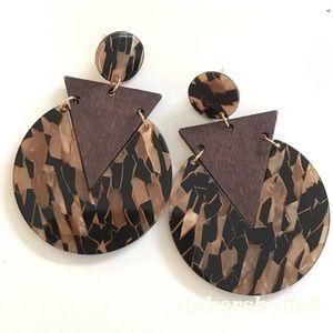 Acrylic Wood Tortoiseshell Geo Statement Earrings